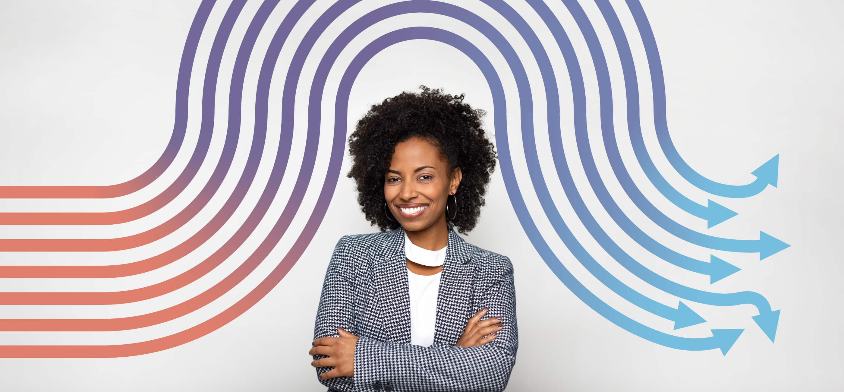 Image of an African American female professional auto insurance broker on grey background with a wavy graphic above her