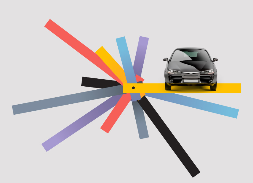 Image of a black car on grey background next to colored lines of yellow, blue, purple, grey, red, and black