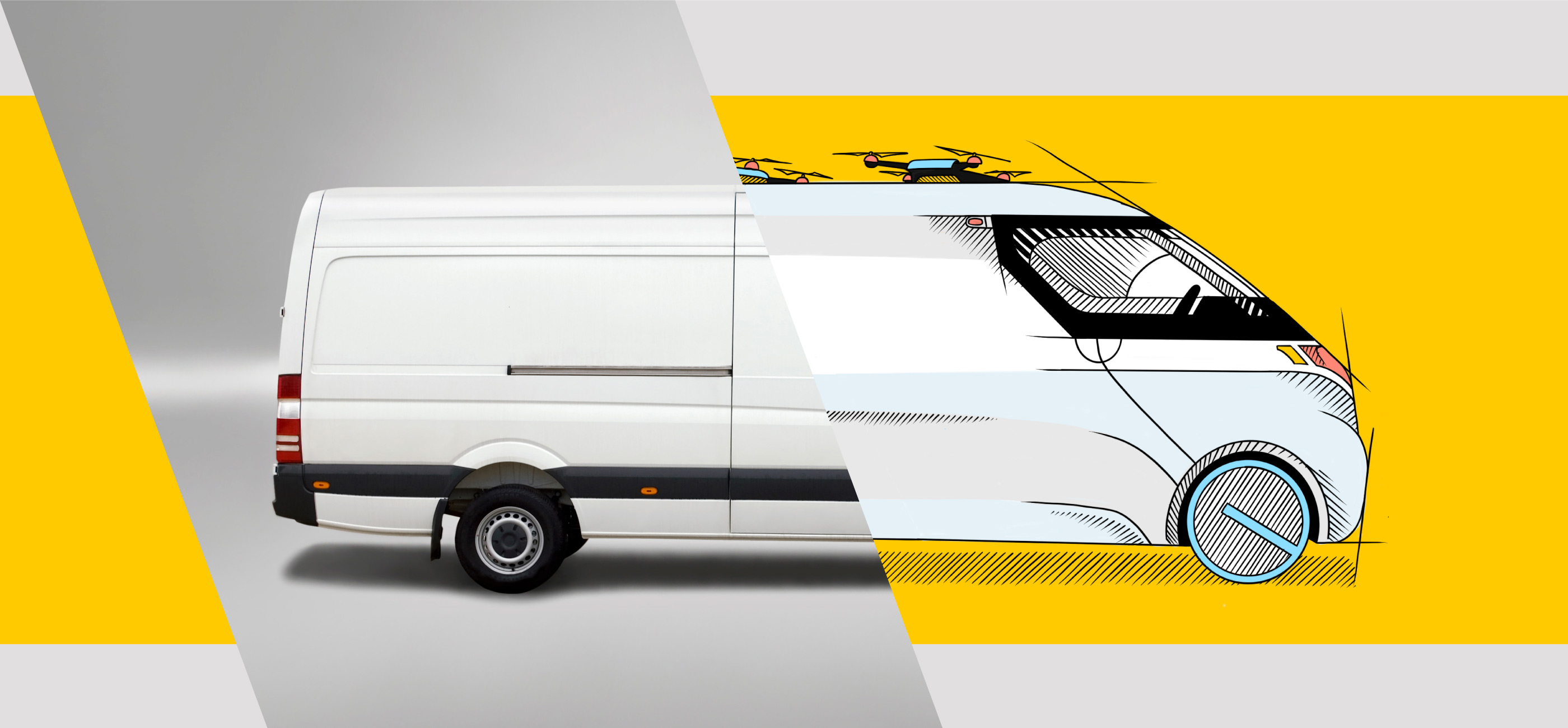 Image of a white delivery van, half of the image is a photo and the other is a drawing on yellow background