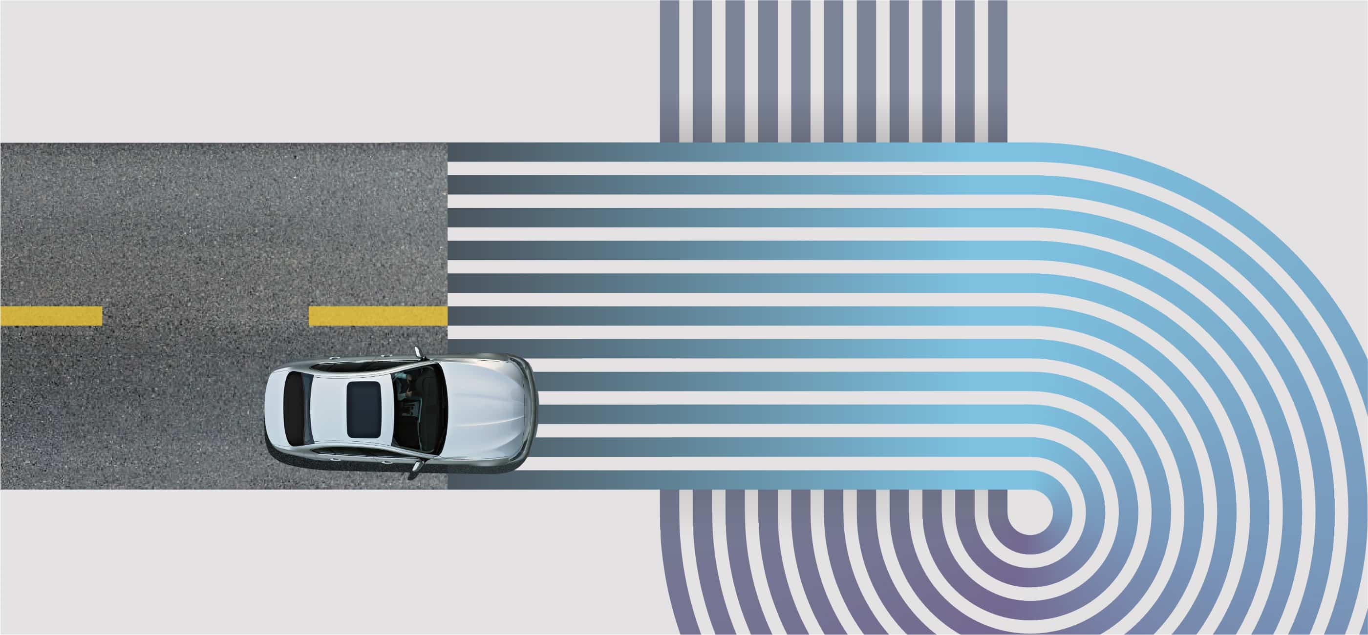 Overhead image of a silver car driving on a road into a blue and purple striped circular graphic on grey background