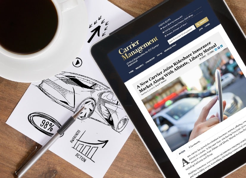 Overhead image of a cup of black coffee, blank white paper with pen, and an electronic tablet with an article about rideshare insurance open